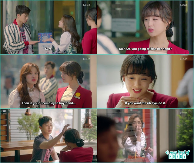 ae ra ask dong man to pat her hair for making her friend chan sook jealous - Fight for my Way: Episode 1 korean Drama