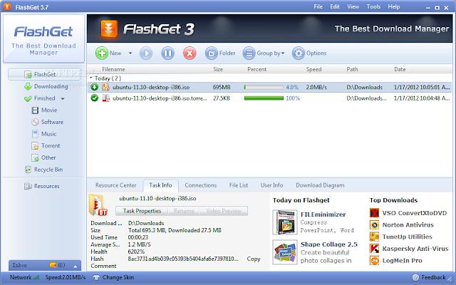 برنامج فلاش جيت FlashGet 3.7