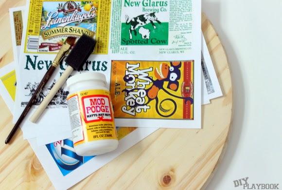 beer tray supplies: Labels DIY Beer Tray | DIY Playbook