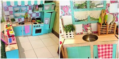 Kreatif Sekali, Ibu Ini Susun Kardus Bekas buat Anaknya Jadi Dapur Mini, Lalu Viral!