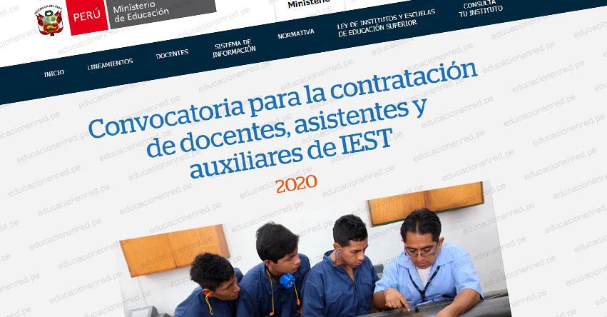 MINEDU: Continúa el proceso de contratación de docentes, asistentes y auxiliares para IEST públicos