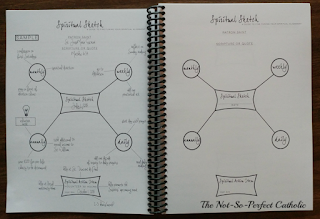 Open planner showing an example of a Spiritual Sketch on 1 side and a blank one on the other