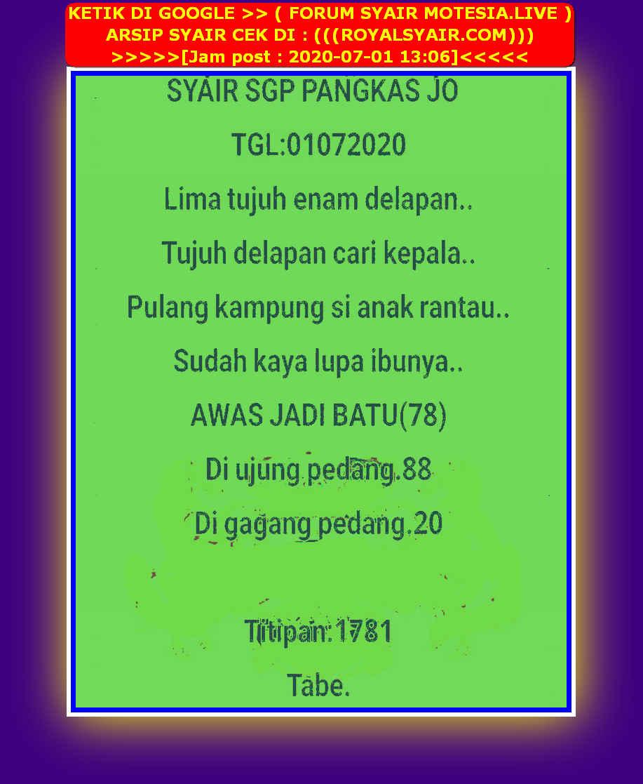 Kode syair Singapore Rabu 1 Juli 2020 32