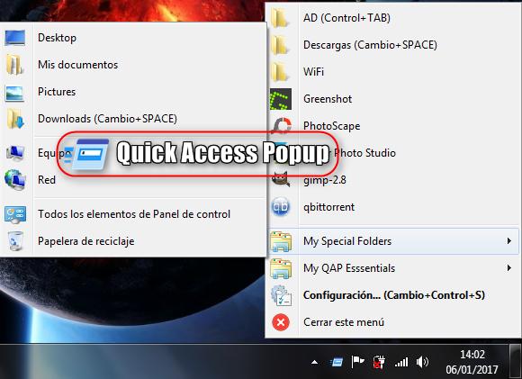 Quick Access Popup 10.4 + Portable - Accede a tus carpetas y aplicaciones más usadas rápidamente