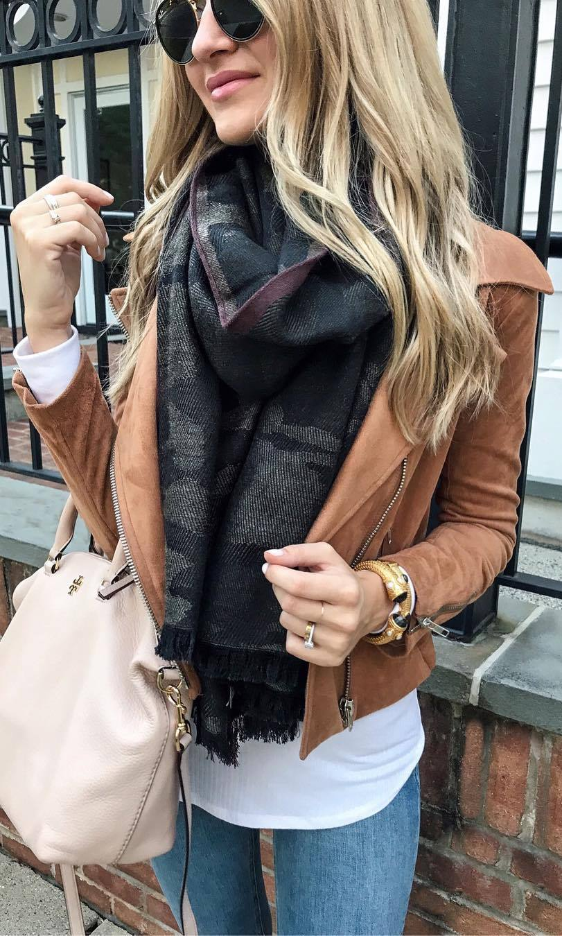 what to wear with a scarf : leather jacket + bag + top + jeans