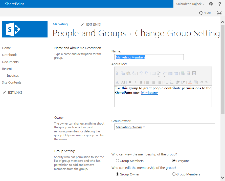 sharepoint 2013 rename security group