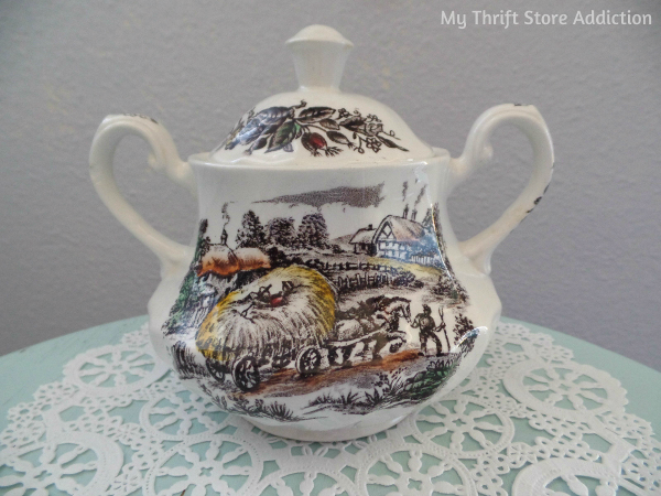 Friday's Find #135 mythriftstoreaddiction.blogspot.com Fabulous thrift store finds of the week including vintage transferware sugar bowl