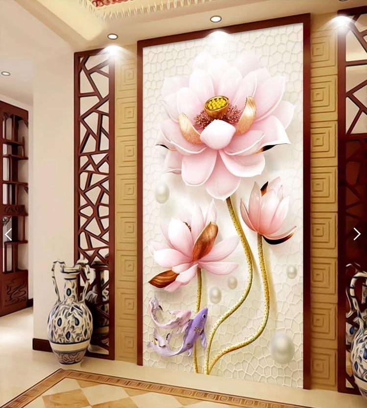 Tranh treo tường hoa sen 3D
