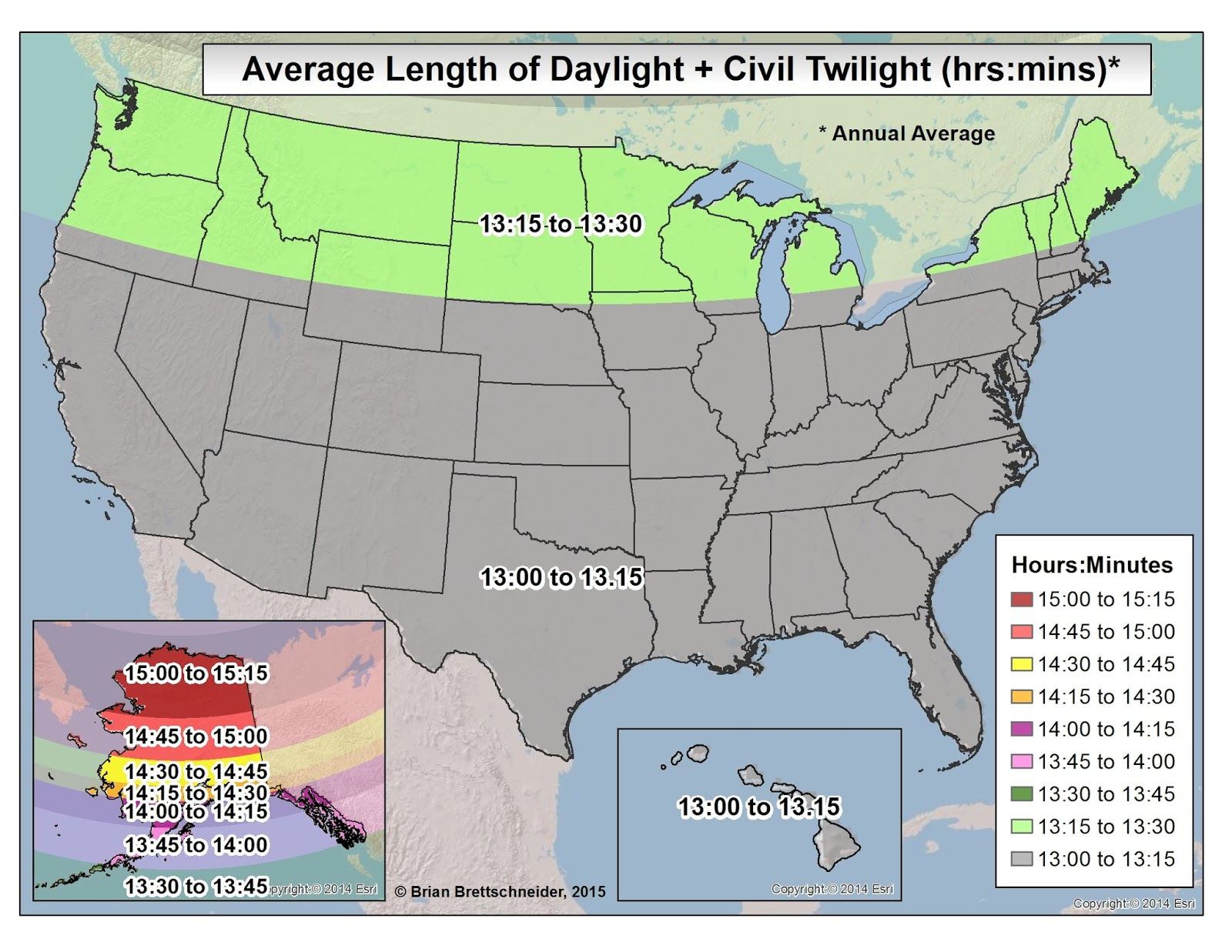 Average Length Of Daylight Plus Civil Twilight For All Days Of The Year