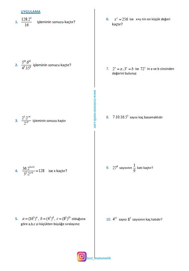 8 Sinif Uslu Sayilar Calisma Kagidi 3 Test Matematik
