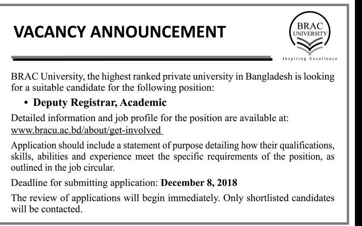 BRAC University Deputy Registrar Job Circular 2018