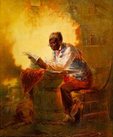 Hombre que lee un informe de periódico de la proclamación de la emancipación