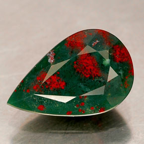 Image showing a bloodstone, a gemstone which is green jasper with inclusions of red hermatite, said to be the tears of Christ. The stone is also known as heliotrope.