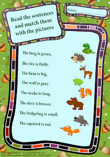 forest animals worksheet match pictures and sentences describing the animals