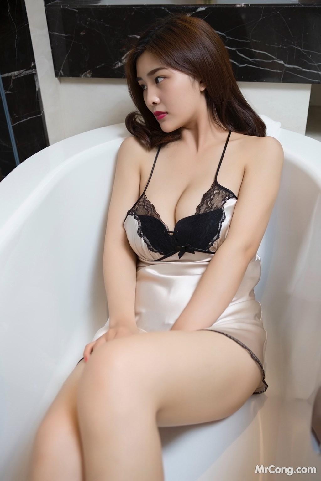 Image Yan-Pan-Pan-Part-5-MrCong.com-004 in post Ngắm người đẹp Yan Pan Pan (闫盼盼) khoe dáng sexy với váy ngủ (25 ảnh)