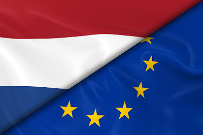 Pic of Netherlands' flag in top diagonal and EU in bottom diagonal split of oblong