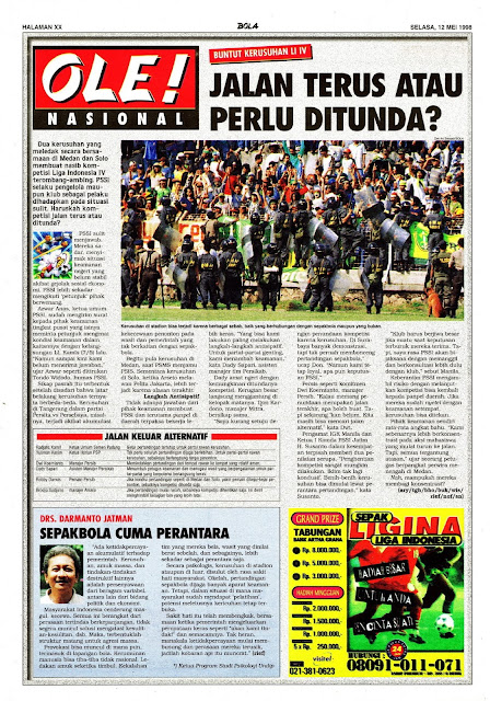 SEPAKBOLA NASIONAL BUNTUT KERUSUHAN LIGA INDONESIA IV