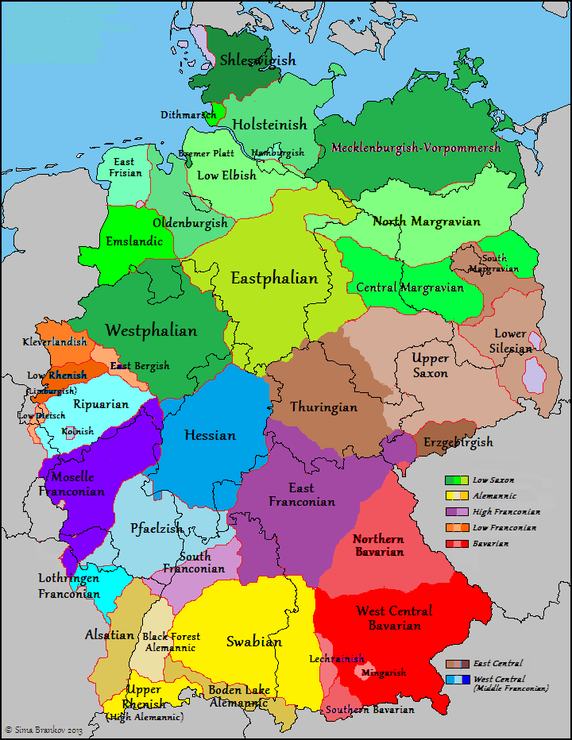 German Dialects in Germany, Belgium & France