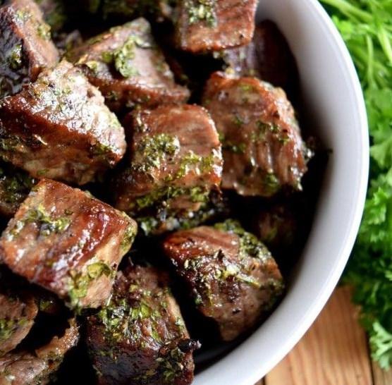 Roasted Herbed Beef Tips #Beef #Dinner
