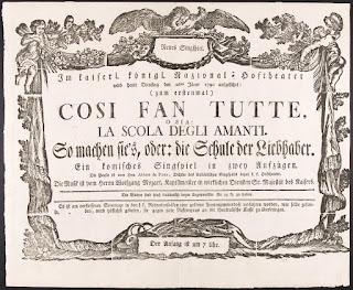 """Cartel del estreno de la versión original en italiano del """"Così fan tutte"""", KV 588, 26 de enero de 1790."""