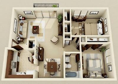 Contoh Desain Interior Rumah Tipe 36 Luas 60 Modern Cat Putih Krem