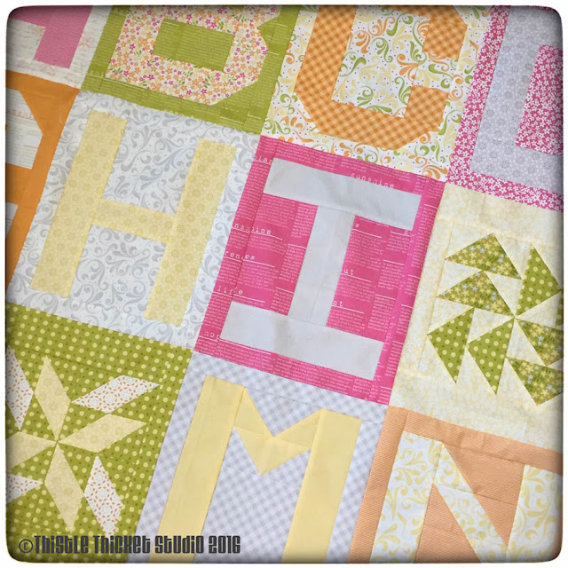 Thistle Thicket Studio, Spell It With Moda, abc quilt, Sunkissed fabric, alphabet quilt