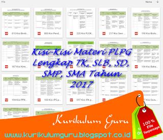 Kisi-Kisi Materi PLPG Lengkap TK, SLB, SD, SMP, SMA Tahun 2017