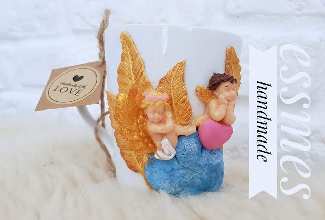 cernit sparkling, anioły z modeliny, aniołki na kubku