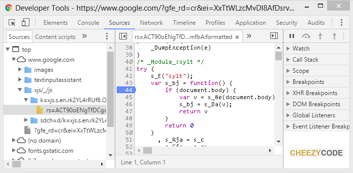 sources tab of developer tools chrome
