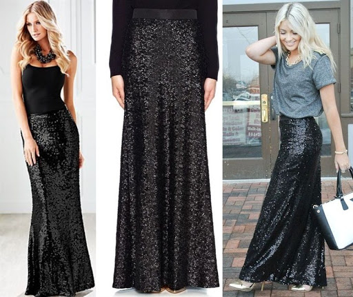 Sequin Black Skirt - Dress Ala