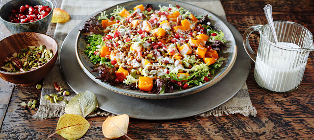Roasted Winter Squash, Lentil and Greens Salad in a Serving Dish