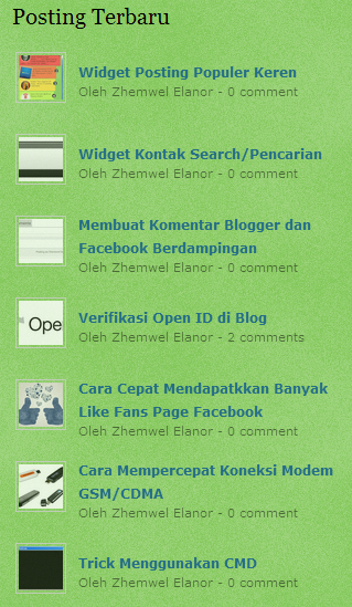Cara Memasang Widget Recent Post - Posting Terbaru