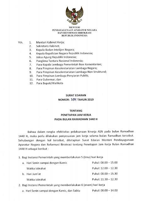 Surat Edaran Menpan RB No 394 Tahun 2019 Jam Kerja Ramadan