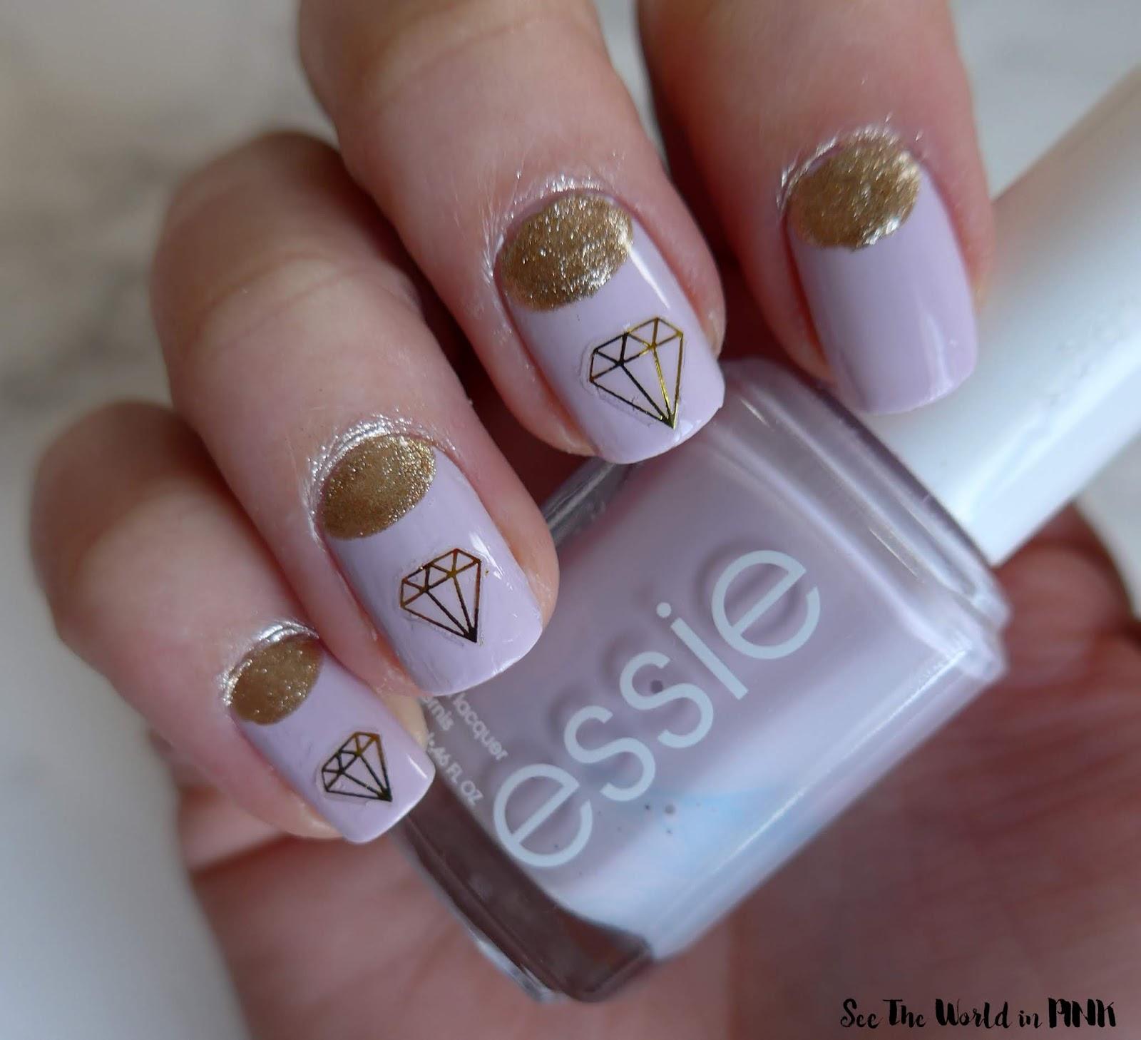 Manicure Monday - Purple and Gold Diamond Wedding Nails