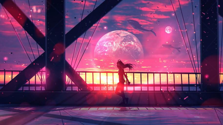 Anime, Girl, Silhouette, Sunset, Fantasy, 4K, #257
