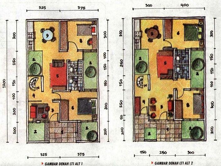 denah rumah hook 2 lantai tampak modern