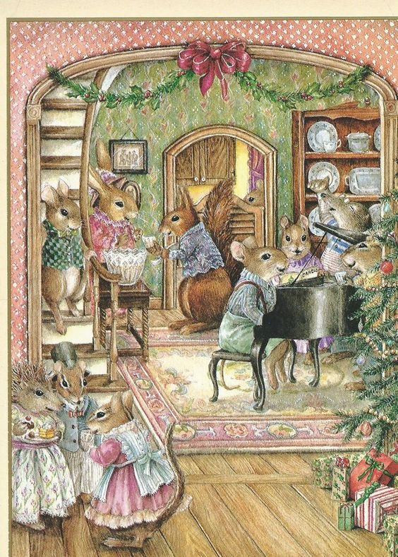 Mice In Country Kitchen Illustration