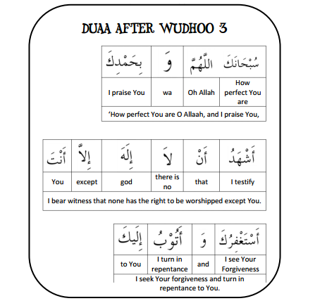 Duaa after Wudhoo Learning Posters