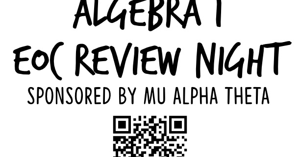 Viking Update: ALGEBRA 1 EOC REVIEW NIGHT