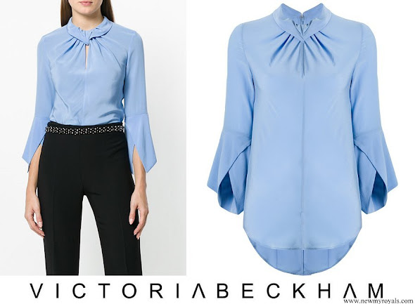Crown Princess Mary wore VICTORIA BECKHAM flare-sleeve knot blouse