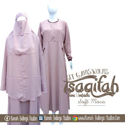 Gamis Setelan Jilbab Syar'i Edisi Tsaqifah Soft Moca