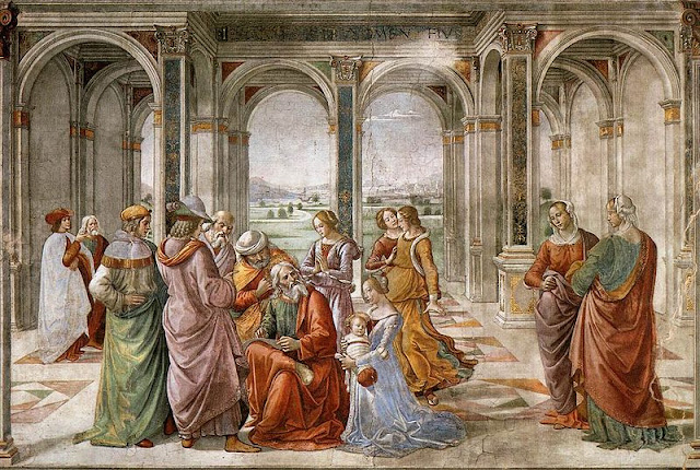 Fresco de Domenico Ghirlandaio (1490, capilla Tornabuoni, Florencia).