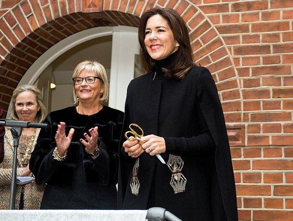 Crown Princess Mary wears Zara vest, cape coat, Gianvito Rossi shoes,  Crown Princess wore Marianne Dulong diamond jewels earrings