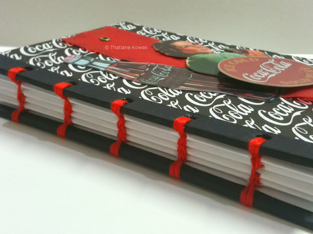 Caderno Scrapbook costura copta Coca-Cola