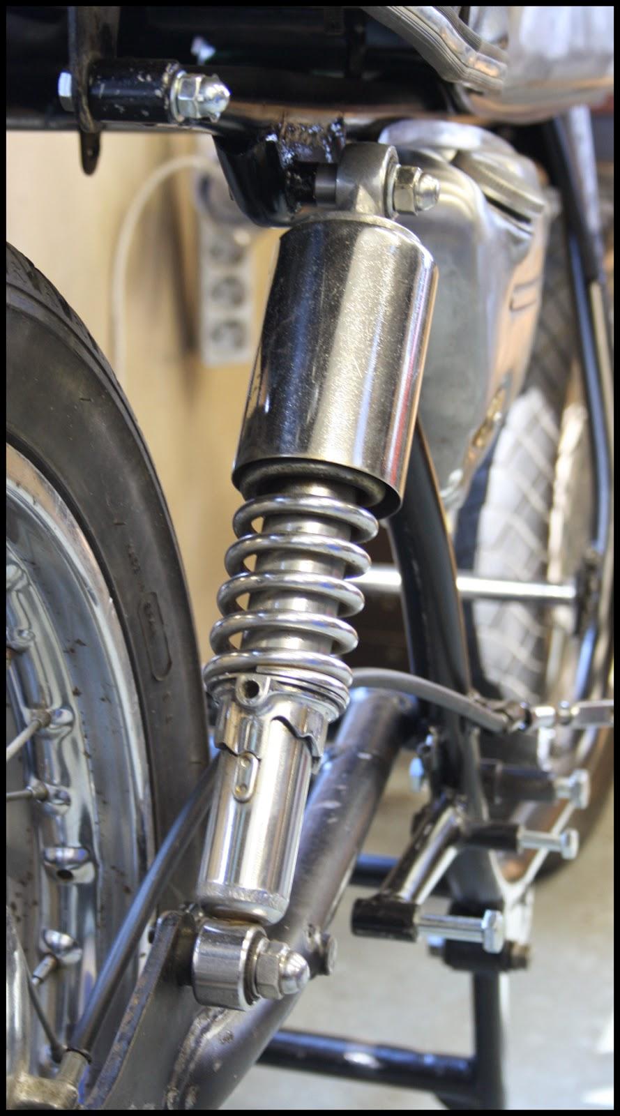 Markos Workshop T500 Swingarm Swap Suzuki T250j Motorcycle Wiring Diagram Rear Shock Installed