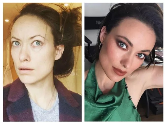 24 Pictures Of Famous Women With And Without Makeup - Olivia Wilde