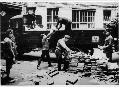 Nazi book burning worldwartwo.filminspector.com