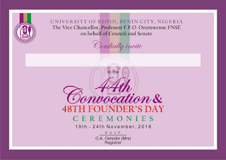 UNIBEN 44th Convocation & 48th Founder's Day Ceremonies Programme of Events