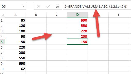 utiliser GRANDE VALEUR pour afficher les cinq grandes valeurs
