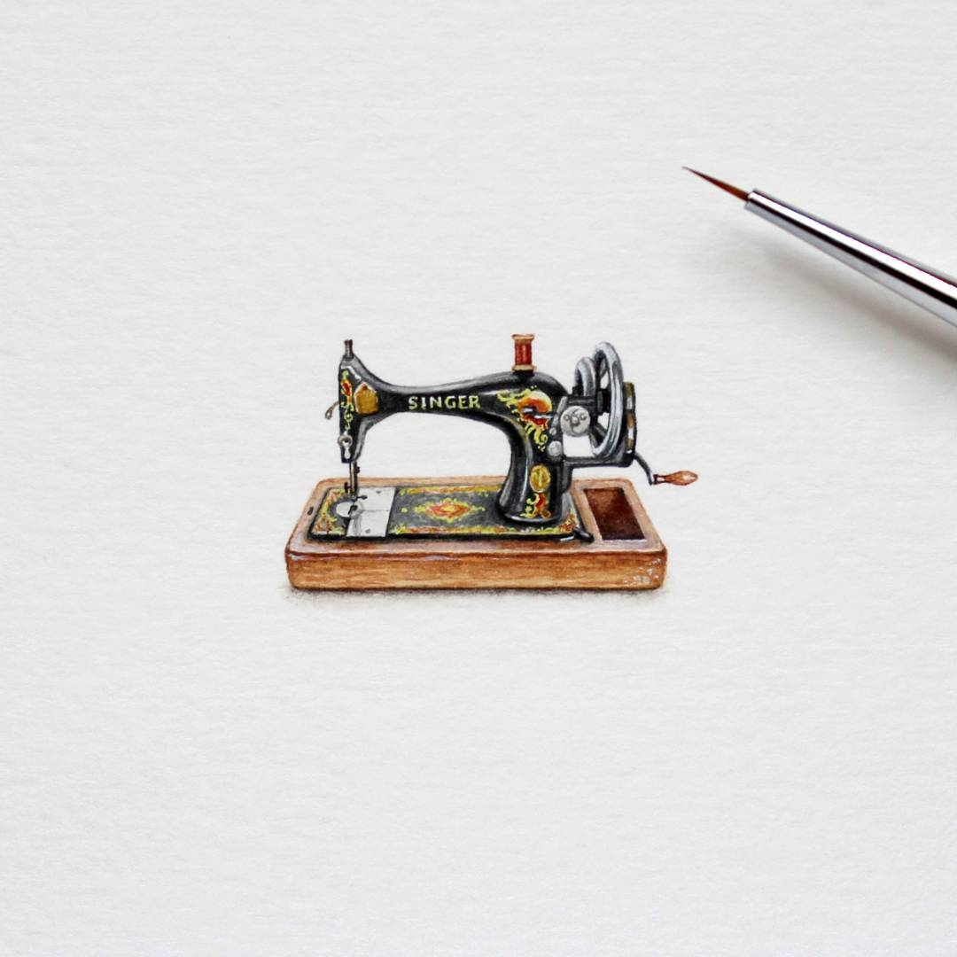 15-Singer-Sewing-Machine-Julia-Las-Tiny-Animal-Watercolor-Paintings-and-Other-Miniatures-www-designstack-co